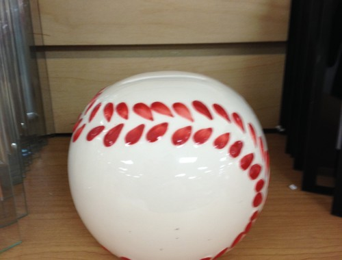 Ceramic baseball bank