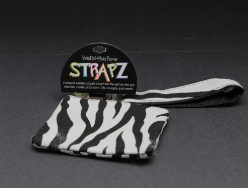Compact wristlet zipper pouch for the girl on the go zebra