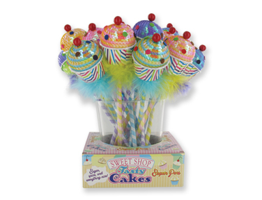 Delicious-looking cupcakes donned with sequins and colorful dots sit atop a furry base pen